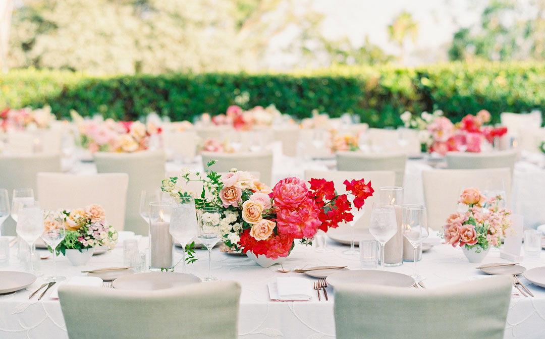 Vibrant pink hued wedding reception