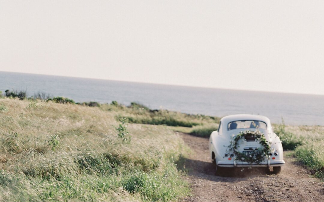 mini honeymoon, getaway car, just married, Santa Barbara, minimoon, California minimoon,
